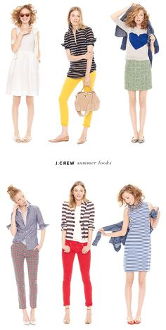 crew summer looks I like these outfits too. Especially the colored pants. J Crew Outfits, All About Fashion, Passion For Fashion, J Crew Style, My Style, Look Fashion, Fashion Outfits, Summer Outfits, Cute Outfits