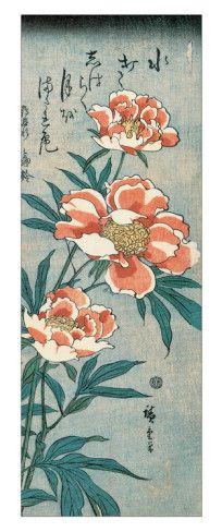 Peonies   Tattoo Ideas & Inspiration - Japanese Art   Ando Hiroshige - Peonies   #Japanese #Art #Peony #Flowers