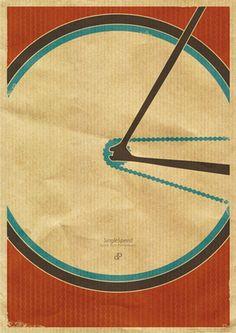 Singlespeed - Fixie Race Bike Design Print by Dirk Petzold
