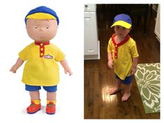 Caillou costume for $10! Hobby Lobby has the shirt, hat, fabric and buttons. (We had the blue shorts already) Whipped it together in about 45 minutes.