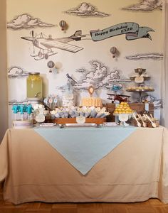 Vintage Airplane Party Dessert Table @Keren Precel Events {prettymyparty.com} #party #airplane #vintage #desserttable