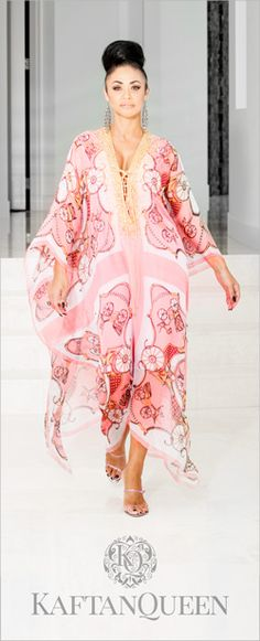 The Sophia Kaftan is the crowning jewel in the Arshia Collection with the soft pink feminine flow through the design www.thekaftanqueen.com.au
