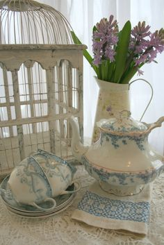 Come in and have a cup of tea on this sunny but cool day. I am using my old china tea pot and tea cups that I got at R.