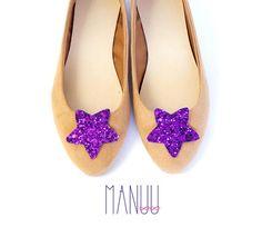 Purple glitter stars - shoe clips Manuu, Bridal shoe clips, Wedding shoe clips