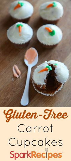 Gluten-Free Carrot Cupcakes Recipe. #omnomnom |via @SparkRecipes #easter #dessert