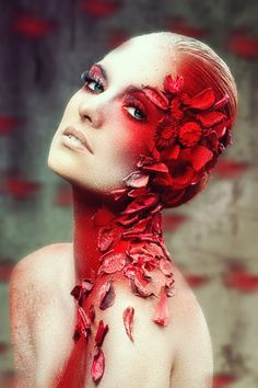 Cerasinus by MeganLeeRetouching on DeviantArt Her face was looked like.it was made of rose petals. They bled from her face as like cuts . Makeup Art, Beauty Makeup, Hair Makeup, Makeup Photography, Portrait Photography, Maquillage Normal, Flower Makeup, Foto Fashion, Makeup Ideas