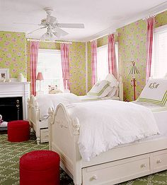 Two Sweet- I would love to have this for my daughter's room. It keeps the shabby chic/cottage feel that I want in my house but also gives her the pink, girly girl feel that she loves. She could definitely have friends come spend the night or just relax or play for hours in this room.