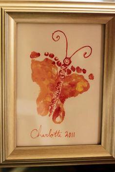 Baby feet butterfly craft art