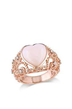 Pink Opal Heart & Diamond Accent Swirl Cutout Ring