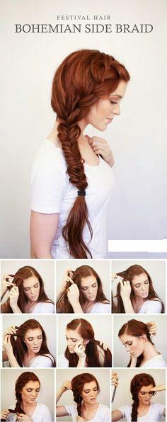 Teenage Fashion Blog: BOHEMIAN SIDE BRAID FESTIVAL HAIR TUTORIAL...