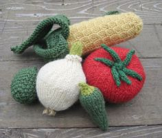 knitted fruit and veggie toys... my kiddo loves his set.