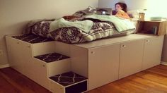 Watch This Man Turn Seven IKEA Kitchen Cabinets Into A Platform Bed - http://www.homesteadingfreedom.com/watch-this-man-turn-seven-ikea-kitchen-cabinets-into-a-platform-bed/
