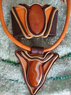 Купить Комплект украшений из кожи- Солнце - рыжий, комплект украшений, комплект…