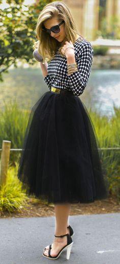 MOONRISE TULLE MIDI SKIRT in BLACK   Dresses   Women Clothes   KOOGAL