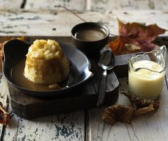 Toffee apple sponge pudding. A perfect end to an autumn dinner party, these easy steamed puddings are rich with toffee and apples