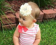 Ivory Dream Pearl and Crystal Headband by GirlyBowsandThings, $10.95