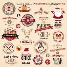 クリスマスをテーマにしたワッペン風のロゴベクターイラスト。サンタクロースやトナカイなど。