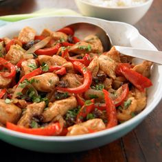 Moroccan Chicken With Peppers And Onions #MoroccanChicken #chickenrecipe
