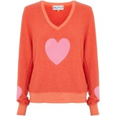Orange WILDFOX sweater Heart WILDFOX sweater, worn before:) taking offers, price dropped Wildfox Sweaters V-Necks