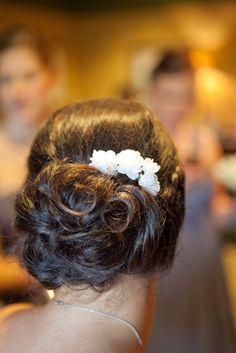 Updo. Wedding hair. Flowers