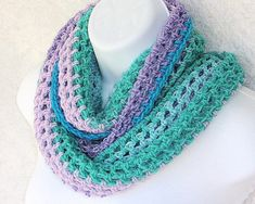 Infinity Moebius Scarf, spiral crocheted in Purple and Sage color stripes lightweight yarn with sparkle edging Spiral Crochet, Sage Color, Garment Bags, Soft Purple, My Signature, Color Stripes, Handicraft, Infinity, Sparkle
