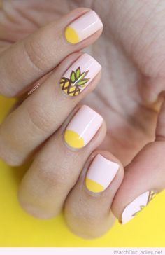 Light pink and yellow nails design