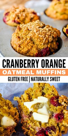 Healthy and wholesome cranberry orange oatmeal muffins. Naturally sweet and gluten free. Made with oat flour, honey, coconut oil, and whole cranberries. Gluten Free Baking, Healthy Baking, Gluten Free Recipes, Cranberry Recipes Healthy, Healthy Recipes, Healthy Muffins, Healthy Snacks, Healthy Baked Oatmeal, Sin Gluten