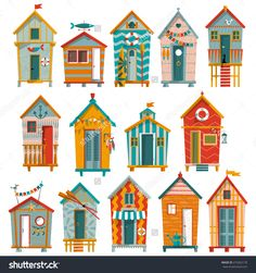 14 Various Multi-Colored Beach Huts. Vector Illustration - 272362178 : Shutterstock