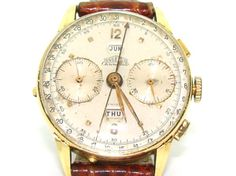 Vintage Mens Angelus Chronodato Solid 18kt Gold Triple Date Chronograph Watch***