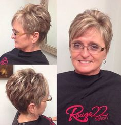 Side fringe/bangs are said to have a slenderizing effect.  Brown Pixie With Blonde Highlights