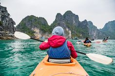 It's totally a great feeling to kayak and sightsee on Halong Bay