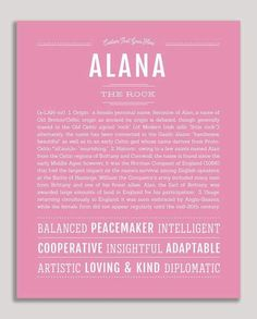 Alana | Classic Name Print – Name Stories Slimming World, Ella Name, Jm Barrie, Classic Names, Descriptive Words, Female Names, Thing 1, Name Art, Names With Meaning