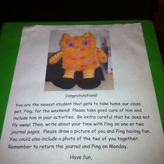 Cute idea! Get a class stuffed animal and let kiddos take it home each weekend to practice writing! :)