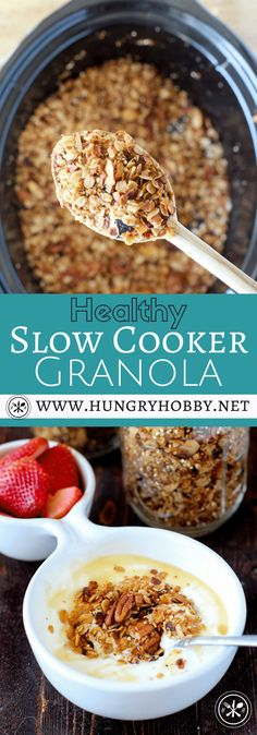Healthy Slow Cooker Granola Who knew you could actually make granola in the slow cooker? I tried it for you guys and I'm sharing the pros and cons of using this method to make delicious crunchy golden brown granola! Easy Brunch Recipes, Gourmet Recipes, Real Food Recipes, Frugal Recipes, Thm Recipes, Free Recipes, Recipies, Healthy Slow Cooker, Slow Cooker Recipes