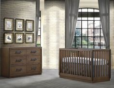The Sevilla Collection is a farmhouse style with heavy utilization of black iron knobs and pulls and a painted metallic black trim which lends the appearance of a metal Bambi Baby, Double Dresser, Baby Furniture, Rustic Charm, Farmhouse Style, Cribs, Solid Wood, Bed, Nursery Sets