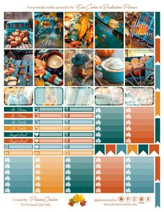Free Printable Autumn Planner Stickers {page one} from Planner Onelove