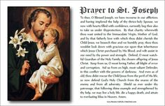 Printable prayer to St. Joseph - Two to a page. St. Joseph, pray for us!