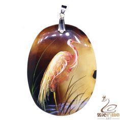 Elegant Pendant Hand Painted Crane Natural Gemstone With Silver Bail ZL804596 #ZL #Pendant