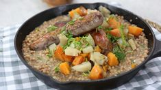 Fall cider roasted sausages with pumpkin spice israeli couscous and sweet potato. Brunch Appetizers, Cast Iron Cooking, Soup And Sandwich, Pork Dishes, Dessert For Dinner, Pressure Cooker Recipes, My Favorite Food, Favorite Recipes, Quick Meals
