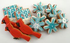images of exquesite christmas cookies | beautiful red and aqua Christmas cookies | Red & aqua Christmas