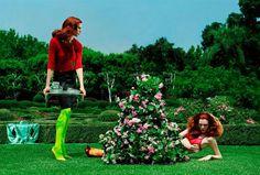 Jessica Stam, Karen Elson, Missy Rayder, Elise Crombez by Steven Meisel for Vogue Italia August 2004