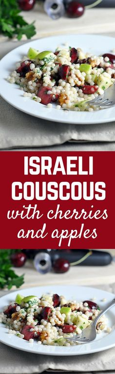 You'll love this Israeli couscous recipe with cherries and apples -- a perfect blend of summer and fall! Get the easy recipe on http://RachelCooks.com!