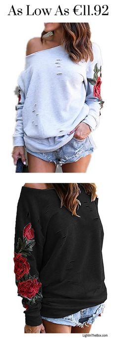 Roses are red, violets are blue , all i can say is Woo Hoo!!! Get this casual off-the-shoulder rose print sleeves women pullover for daily wear. shop it in white/ black/ red/ grey colours at €12.80. Click to shop.