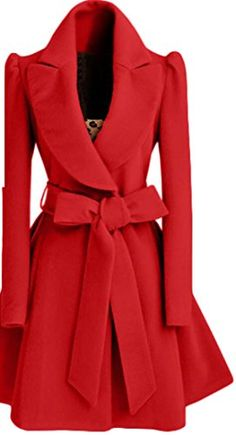 a7cd755298d5 UUYUK Womens Winter Solid Slim Fit Lapel Pleated Jacket Belted Wool Coat  Red US L Long