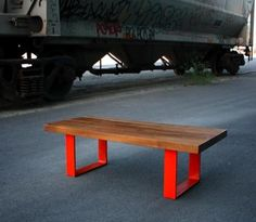 Whiticomb & Company bench: reclaimed wood and painted steel.