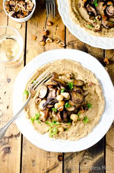 Roasted Cauliflower 'Polenta' with Mushrooms and Hazelnuts