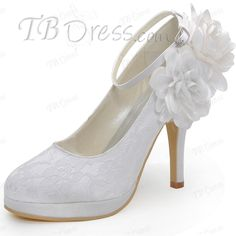 c257a1a7585d Lace Closed Toe Flowers Stiletto Heel Wedding Shoe