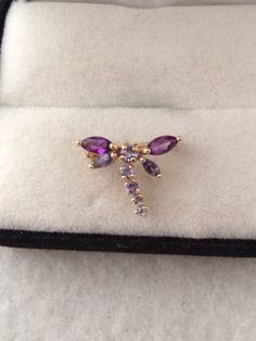 Elegant 14K 585 Fine Gold Dragonfly Pin / by HauteCoutureLaLa