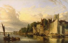 James Stark, 1794-1859, British, Lambeth from the River looking towards Westminster Bridge, 1818, Oil on canvas, Yale Center for British Art...