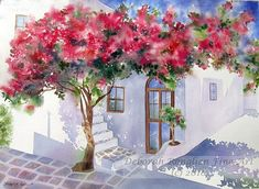 Image result for watercolor wooden wall with bougainvillea